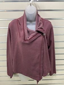 Patagonia Wrap Sweatshirt Cardigan Burgundy Purple XS ORGANIC COTTON BLEND