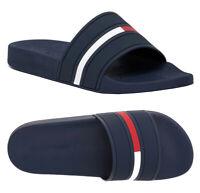 Tommy Hilfiger Men's Logo Navy Blue Ennis Slippers  Designer Slide Sandals