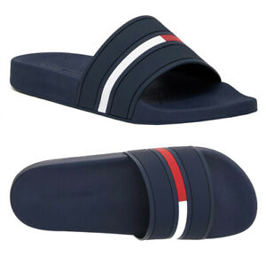 Tommy Hilfiger Men's Logo Navy Blue Ennis Slippers  Designer Slide Sandals