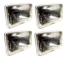 "Four 4x6"" Conversion Headlight Housing High & Low Beam Semi Sealed H4 Bulb 04x4"