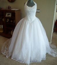 Venus 7438 White Halter Detachable Train Bridal Gown Wedding Dress size 14