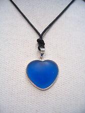 Cuore in ARGENTO 925 con Quarzo sintetico blu e girocollo - ciondolo -