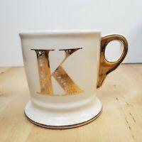 Anthropologie Letter K Initial Monogram Coffee Mug Tea Cup Shaving Style