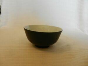 "Vintage Black & White Ceramic Rice Bowl 4.5"" Diameter x 2.25"" Tall"