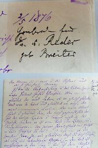 Handwriting Sprottau (Silesia) 1876: Grabrede Dorothea V. Reder, Born Breither