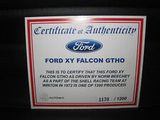 BIANTE 1/18 COA CERTIFICATE OF AUTHENTICITY FORD FALCON  XY GTHO NORM BEECHEY 72