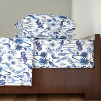 Peacock Peacock Indigo Blue Tropical 100% Cotton Sateen Sheet Set by Roostery
