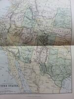 ANTIQUE PRINT DATED C1870'S MAP WESTERN DIVISION OF THE UNITED STATES USA ATLAS