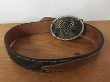 Nocona Belt Company Modern Camo & Brown Leather Metal Deer Skull Belt Kids Sz 18