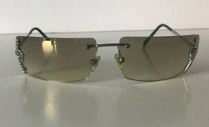VERSACE light beige sunglasses swarovski crystals & box