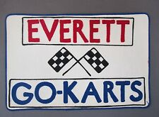 giant 1960's EVERETT GO-KARTS checkered flags chain stitched shirt jacket patch