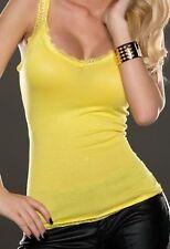 Miss Sexy Trendy Da Donna Scollo V Girly Top Pizzo Spalline 34/36/38 Giallo Nuovo