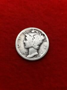 1919 p Silver Mercury Dime #62Btm