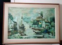 Vintage Original MCM Painting By Listed Artist Parker Lee