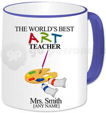 Personalised Gift Thank You Best Art Teacher Mug Cup Birthday Christmas Blue
