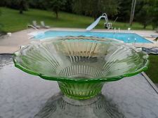 """GREEN MAYFAIR """"OPEN ROSE"""" 12"""" HAT DEEP BOWL BY HOCKING DEPRESSION GLASS 1931-37"""