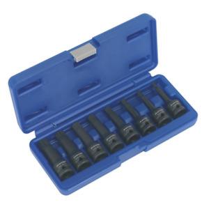 """Sealey Impact Spline Socket Bit Set 8pc 1/2""""Sq Drive - AK5604"""
