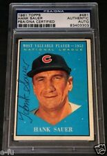 HANK SAUER Signed 1961 Topps #481 MVP Cubs Auto Beautiful Color PSA/DNA Slabbed