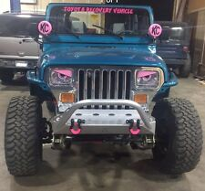 87-96 PINK & BLACK Jeep Wrangler YJ  Cherokee Angry Eyes Mad Headlight Decal 1