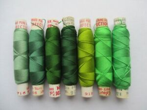 VINTAGE PURE SILK EMBROIDERY THREADS PERIVALE & GUTERMANN GREEN SHADES