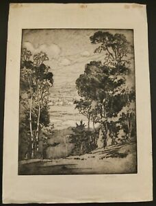 "John Wesley Cotton Signed 1916 Etching ""Canadian Landscape"" 19"" X 13 1/2"""