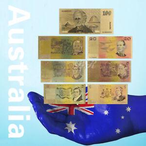 WR 7PCS Australia Polymer Banknotes Set 24K Gold Foil Dollar Note + Certificate