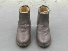 1/6 Scale Toy Western Gear - Brown Leather Civilian Ankle Shoes (Foot Type)