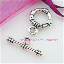 4 New Connectors Necklace Round Circle Toggle Clasps Tibetan Silver