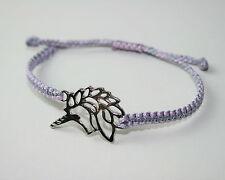 Einhorn Unicorn Makramee Glücks Armband Tibet Silber Flieder Grau ca. 25 cm
