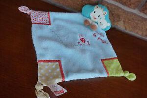 SECURITY Blanket VULLI Sophie La Girafe GIRAFFE Lovey Blue Square Bird Knots