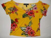 Derek Heart floral print top M yellow nwot