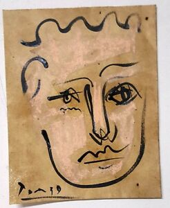 Pablo Picasso Face Portrait on Paper Original Drawing Painting. Signed.