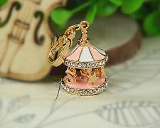 XS Merry-go-round Carousel Small Keyring Rhinestone Crystal Pendant Fob Keychain