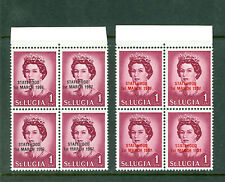 St Lucia 1967, Statehood Opt Red & Black Marginal Block of 4 Sc#214-14a,MNH 1040