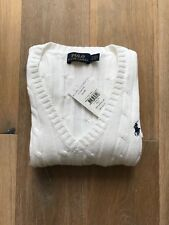 Authentic Women Polo Ralph Lauren Cable-Knit White Sweater Size S Brand New