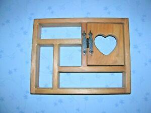 """13"""" x 10""""  Shelf Display Wood Home Decor Heart Curio Shadow box with door wall"""