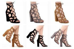 Ladies Faux Suede Mid Ankle Lace Up Heels In Black/Grey/Sand Colours All Sizes
