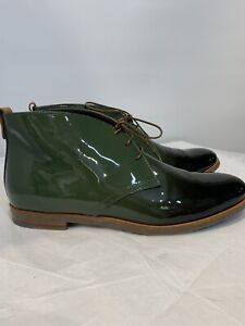 NWB AGL Patent Leather Chukka Boots Ombre Green 39 / 8.5* Italy $450