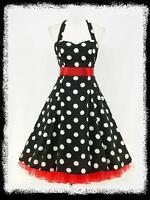 dress190 CHIFFON BLACK POLKA DOT 50's PINUP ROCKABILLY SWING PROM DRESS UK 8-26