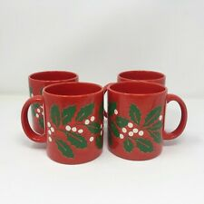 Waechtersbach Christmas Mug Cup Set of 4 Red with MistleToe Germany Ceramic