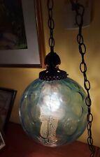 Vintage Mid Century Retro Hanging Swag Light/Lamp Blue Glass