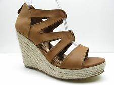 Cynthia Vincent Brown Leather Zipper Platform Wedge Sandals Heels 10M 10 $225