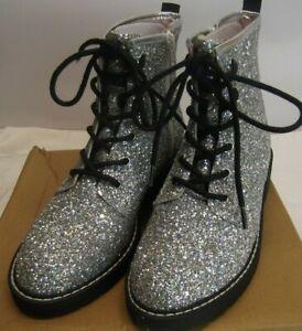 Steve Madden Kids Girls Silver Sparkle Combat Boots JBETTYY 5 NIB fits Womens 7