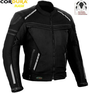 MENS BLACK AIR VENT TECHNOLOGY MESH SUMMER MOTORBIKE MOTORCYCLE TEXTILE JACKET