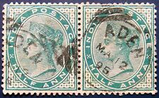 ADEN Used on BRITISH INDIA 1882 1/2a Queen Victoria USED PAIR