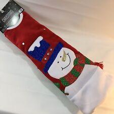 """New 48"""" Christmas Shoppe Snowman Tree Skirt - Velvet Red & White"""