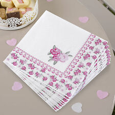 16 x Vintage Style Shabby Chic Napkins pretty floral Party Napkins pink roses