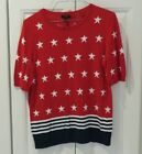 NWT Talbots Women's Short Sleeve Red White and Blue Sweater Fourth of July Sz Mp