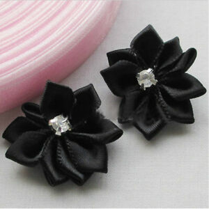 10-80Pcs DIY Satin Ribbon Flower with Crystal Bead Appliques Craft/Trim