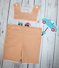NWOT VIVE LA FETE Precious Shortall Romper Construction Trucks Boy Size 4 NEW